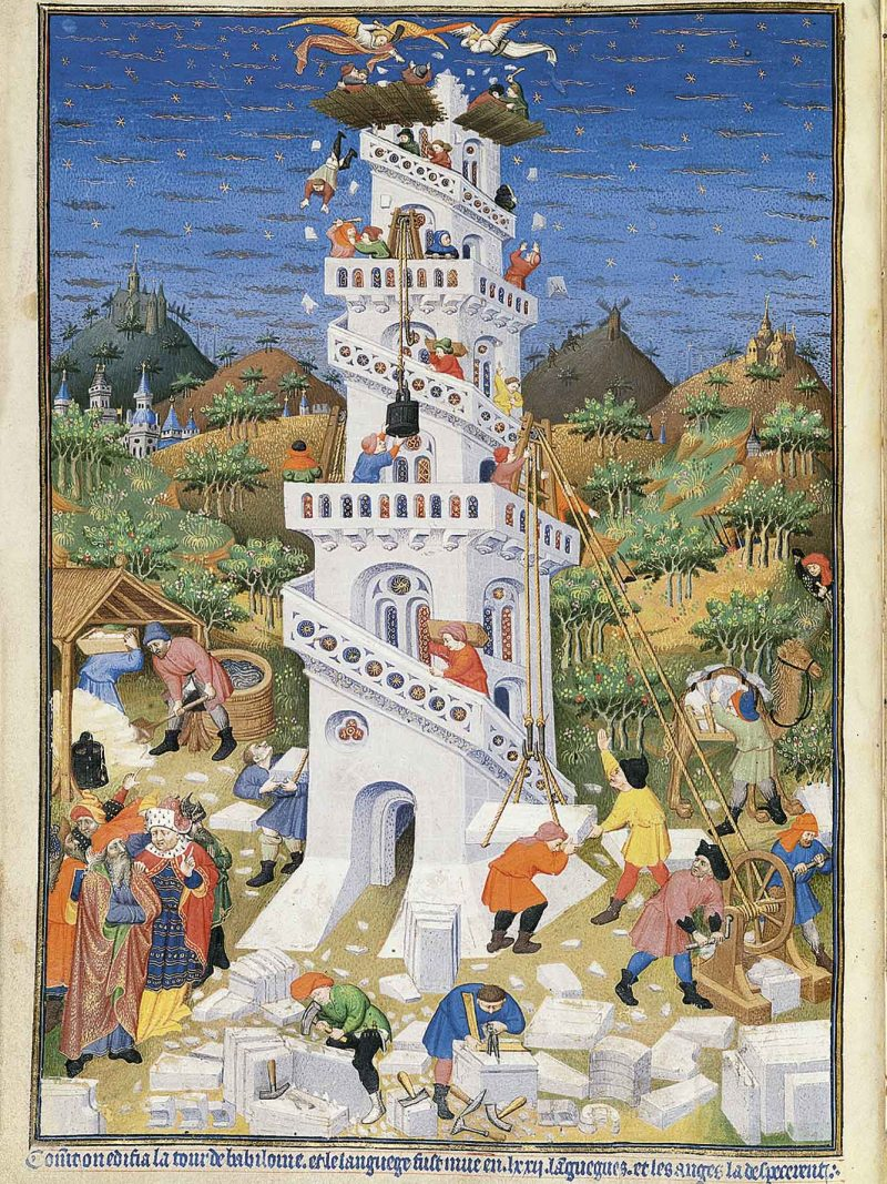 Turmbau zu Babel, Tower of Babel, British Library, London, Ms. Add. 18850, Paris, early 15th century, frühes 15. Jh. Jahrhundert, Bedford Hours, Bedford-Stundenbuch, Livres d'heures, Bedford Masters, Bedford-Meister, Faksimile, facsimile, Buchmalerei, book illumination, fol. 17v