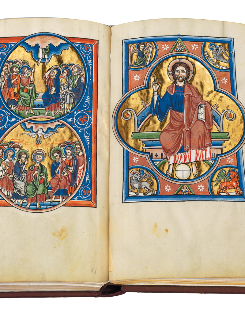 fol. 27v, fol. 28, Christus am Thron, Christ on the throne, Ascension, Pentecost, Königspsalter, Royal Psalter, Sainte Chapelle, Paris, Bibliothèque de l'Arsenal, MS 1186, Ludwig der Heilige, King Louis the Saint, Blanche de Castille, Blanka von Kastilien, französische Buchmalerei, French book illumination, 13. Jahrhundert, 13. Jh., 13th century, französische Gotik, French Gothic, Psalter, psautier royal, Sainte-Chapelle, Saint Louis, Neuerscheinung, new release