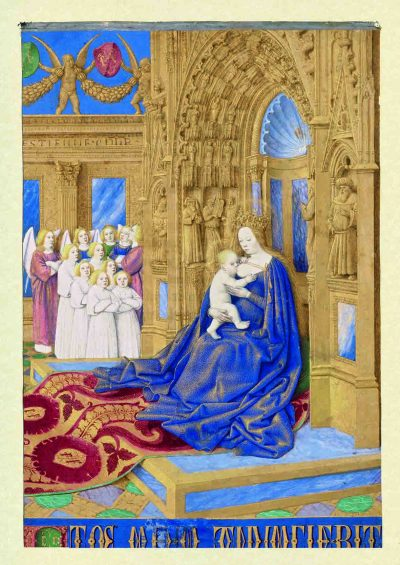 Madonna mit dem Kind, Tafel 1, Folio 5, Stundenbuch des Étienne Chevalier, Jean Fouquet, Faksimile, Faksimile-Edition, Schmuckkassette, Musée Condé, Chantilly sowie Einzelblätter (Bibliothèque nationale de France (Paris), n.a. lat. 1416; Louvre (Paris), Departement des Arts graphiques, R.F. 1679; Musée Marmottan (Paris); Brithish Library (London), Add. 37421; Upton House (Warwick, England), Collection Lord Bearsted, Collection De Kesel (Deurle, Belgien) sowie Metropolitan Museum (New York). Paris, nach 1452