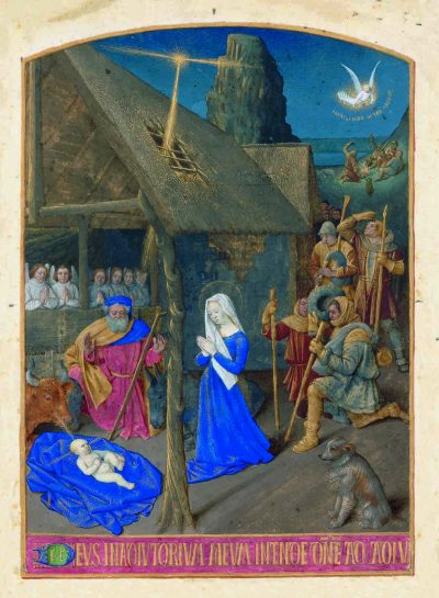 Die Geburt Christi, Tafel 2, Folio 8, Stundenbuch des Étienne Chevalier, Jean Fouquet, Faksimile, Faksimile-Edition, Schmuckkassette, Musée Condé, Chantilly sowie Einzelblätter (Bibliothèque nationale de France (Paris), n.a. lat. 1416; Louvre (Paris), Departement des Arts graphiques, R.F. 1679; Musée Marmottan (Paris); Brithish Library (London), Add. 37421; Upton House (Warwick, England), Collection Lord Bearsted, Collection De Kesel (Deurle, Belgien) sowie Metropolitan Museum (New York). Paris, nach 1452