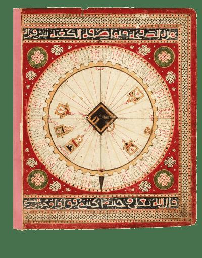 Schema von Mekka: Qibla-Diagramm mit 40 Miḥrābs. Aus: Seeatlas von al-Sharafi, Tunesien, 1551 (Paris, Bibliothèque nationale de France, Arabe 2278, folio 2v)