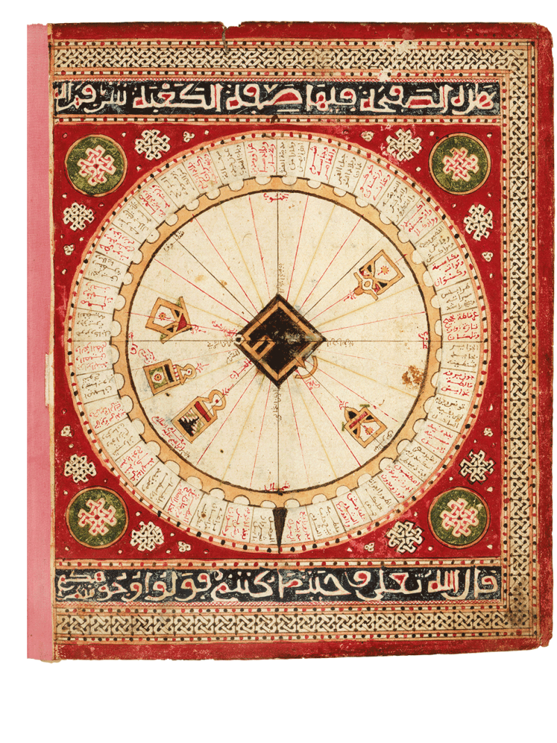 Schema von Mekka: schema of Mecca, Qibla-Diagramm mit 40 Miḥrābs. Aus: Seeatlas von al-Sharafi, Tunesien, 1551 (Paris, Bibliothèque nationale de France, Arabe 2278, folio 2v), Schema of Mecca: qibla-diagram with 40 miḥrābs, Sea Atlas of al-Sharafi, Tunis, 958 AH/1551 CE