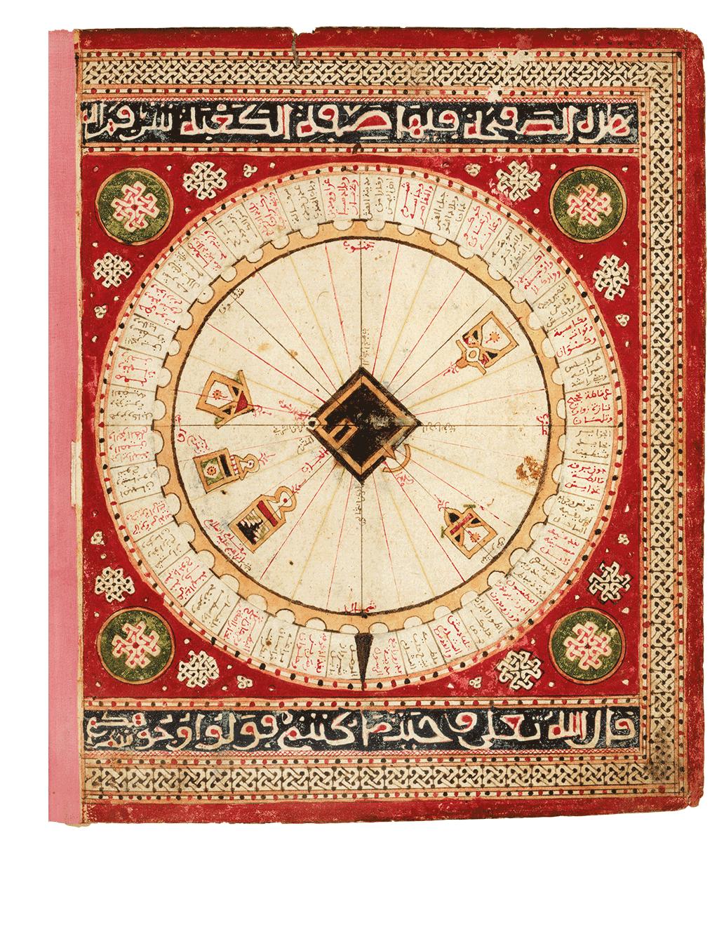 Schema von Mekka: schema of Mecca, Qibla-Diagramm mit 40 Miḥrābs. Aus: Seeatlas von al-Sharafi, Tunesien, 1551 (Paris, Bibliothèque nationale de France, Arabe 2278, folio 2v), Schema of Mecca: qibla-diagram with 40 miḥrābs, Sea Atlas of al-Sharafi, Tunis, 958 AH/1551 CE
