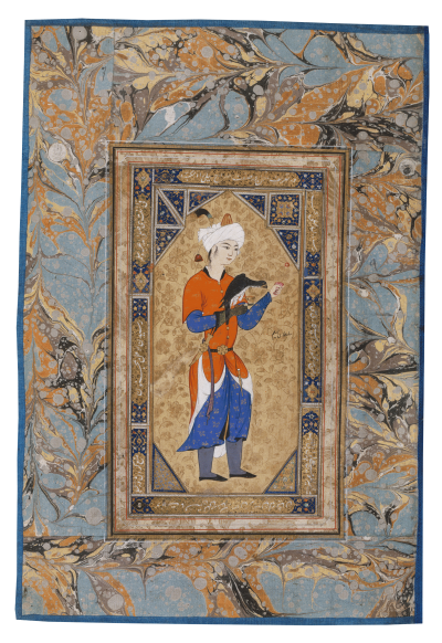 Jüngling mit Falke. Aus: Bilderalbum, Iran, 17-18. Jh. (Paris, Bibliothèque nationale de France, Arabe 6076, folio 7r), Young man with a Falcon, Album of paintings, Iran, 11-12th century AH/17-18th century CE, islamische Buchkunst, Islamic Book illumination