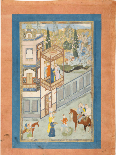 Chosrau vor Schirins Palast. Aus: Chosrau und Schirin, vermutl. aus einem Schâhnâmeh, Iran, 17. Jh. (Paris, Musée du Louvre, MA 1036), Khosrow approaches Shirin on her Balcony, Khosrow and Shirin (Shâhnâmeh), Iran, 11th century AH/17th century CE