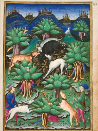 Jagdszene. Aus: Abhandlung über die Jagd, Mailand, 1459 (Chantilly, Musée Condé, Ms. 368, fol. 85r), Hunting scene, Treatise of Falconry and Hunting, Milan (Italy), 863 AH/1459 CE