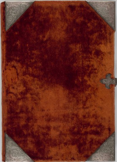 Orange velvet book cover of the Berry Apocalypse from The Morgan Library & Museum in New York, MS M.133; Paris, around 1410