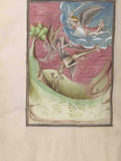 Folio 37 verso showing archangel Michael fighting the devils, from The Morgan Library & Museum in New York, MS M.133; Paris, around 1410