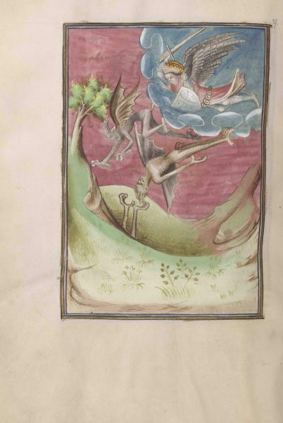 extract from the Berry Apocalypse; folio 37 verso showing archangel Michael fighting the devils