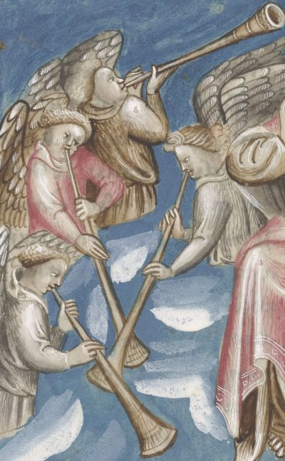 extract from the Berry Apocalypse; folio 18 verso showing archangel angels playing the trumpet