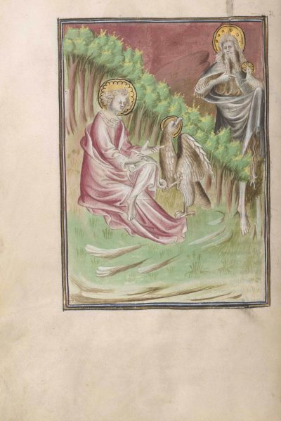 extract from the Berry Apocalypse; folio 71 verso showing John the Evangelist and John the Baptist