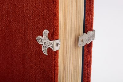 finely graved silver clasp shaped as the French fleur-de-lys of the book cover from the Berry Apocalypse from The Morgan Library & Museum in New York, MS M.133; Paris, around 1410